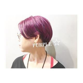 ストリート ダブルカラー ピンク ショート ヘアスタイルや髪型の写真・画像