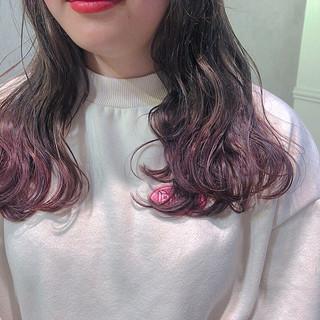 グラデーションカラー 裾カラー ガーリー セミロング ヘアスタイルや髪型の写真・画像