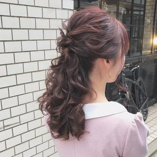 ハーフアップ 結婚式 上品 エレガント ヘアスタイルや髪型の写真・画像