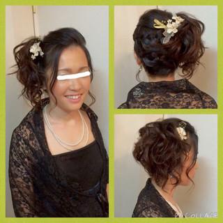 編み込み 黒髪 和装 ヘアアレンジ ヘアスタイルや髪型の写真・画像