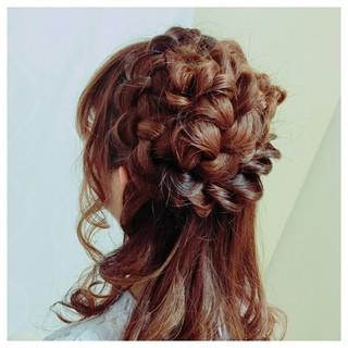 ルーズ 編み込み 結婚式 大人かわいい ヘアスタイルや髪型の写真・画像