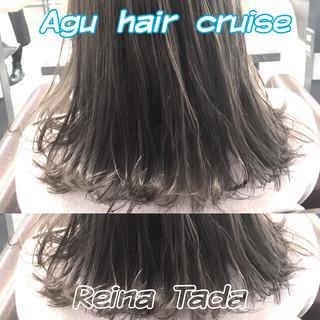 フェミニン アッシュ ミディアム くすみカラー ヘアスタイルや髪型の写真・画像