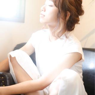 簡単ヘアアレンジ ゆるふわ ピュア 夏 ヘアスタイルや髪型の写真・画像