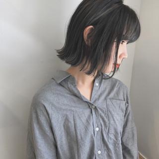 切りっぱなし ショートボブ 透明感 ナチュラル ヘアスタイルや髪型の写真・画像
