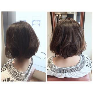 リラックス デート ボブ ナチュラル ヘアスタイルや髪型の写真・画像