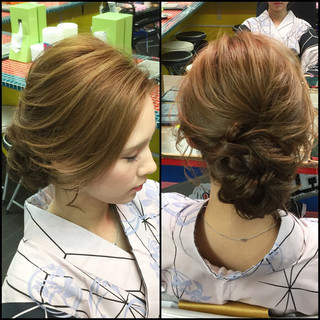 アップスタイル ヘアアレンジ ショート 簡単ヘアアレンジ ヘアスタイルや髪型の写真・画像