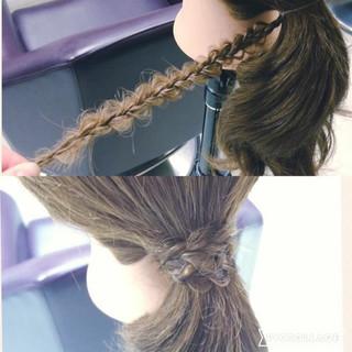 ポニーテール ヘアアレンジ 三つ編み ロング ヘアスタイルや髪型の写真・画像