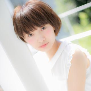 ミニボブ 小顔ヘア 小顔 大人かわいい ヘアスタイルや髪型の写真・画像