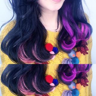 ミディアム 渋谷系 グラデーションカラー ガーリー ヘアスタイルや髪型の写真・画像
