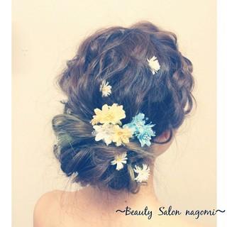 編み込み 結婚式 ヘアアレンジ ロング ヘアスタイルや髪型の写真・画像