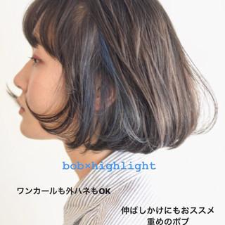 インナーカラー ストリート インナーブルー ボブ ヘアスタイルや髪型の写真・画像