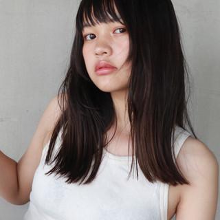 簡単 切りっぱなし 外国人風 セミロング ヘアスタイルや髪型の写真・画像