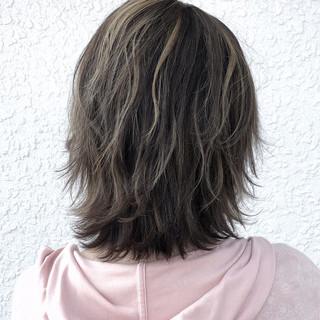 外国人風 透明感 フェミニン ミディアム ヘアスタイルや髪型の写真・画像