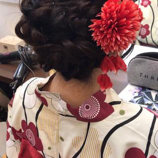 セミロング 可愛い 浴衣アレンジ フェミニン ヘアスタイルや髪型の写真・画像