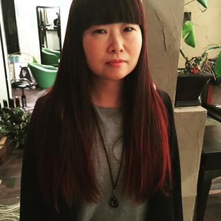 モード 黒髪 ハイライト ロング ヘアスタイルや髪型の写真・画像