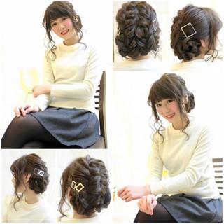 謝恩会 ヘアアレンジ 編み込み 結婚式 ヘアスタイルや髪型の写真・画像