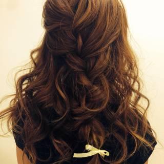 編み込み 三つ編み ナチュラル ヘアアレンジ ヘアスタイルや髪型の写真・画像
