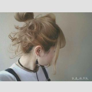簡単ヘアアレンジ 涼しげ お団子 夏 ヘアスタイルや髪型の写真・画像