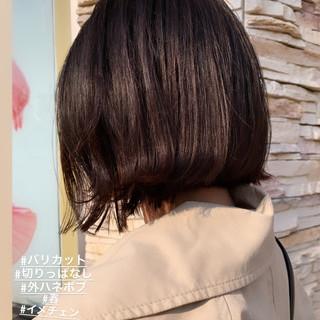 ボブ 外ハネボブ 切りっぱなし 春 ヘアスタイルや髪型の写真・画像