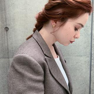 フェミニン セミロング 簡単ヘアアレンジ デート ヘアスタイルや髪型の写真・画像