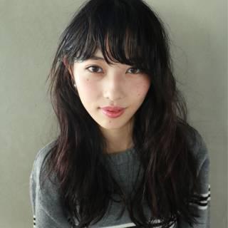 黒髪 透明感 前髪パーマ ナチュラル ヘアスタイルや髪型の写真・画像