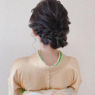 ミディアム ヘアアレンジ 訪問着 結婚式髪型 ヘアスタイルや髪型の写真・画像