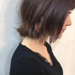 外国人風カラー ロブ グレージュ ラベンダーピンク ヘアスタイルや髪型の写真・画像