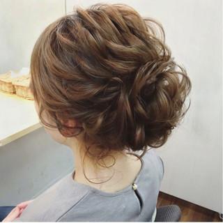 結婚式 ナチュラル セミロング ガーリー ヘアスタイルや髪型の写真・画像