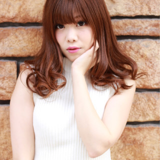 モテ髪 ミディアム ガーリー ゆるふわ ヘアスタイルや髪型の写真・画像