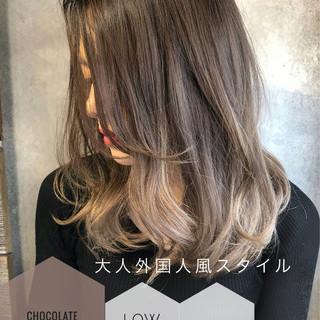 ハイライト レイヤーボブ セミロング チョコレート ヘアスタイルや髪型の写真・画像