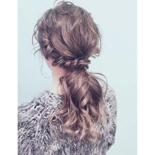 ゆるふわ ハイライト 簡単ヘアアレンジ セミロング ヘアスタイルや髪型の写真・画像