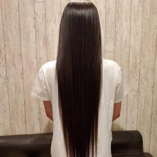 ロング 黒髪 縮毛矯正ストカール 縮毛矯正 ヘアスタイルや髪型の写真・画像