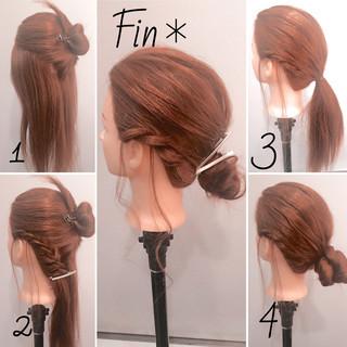 簡単ヘアアレンジ ヘアアレンジ 大人女子 ねじり ヘアスタイルや髪型の写真・画像