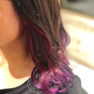 インナーカラー ストリート 冬カラー ピンク ヘアスタイルや髪型の写真・画像