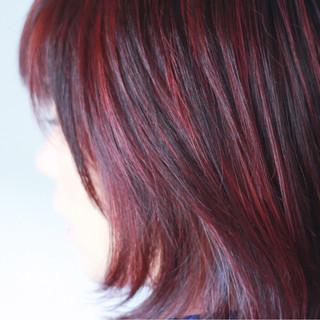 ピンク グレー ハイライト ミディアム ヘアスタイルや髪型の写真・画像 ヘアスタイルや髪型の写真・画像
