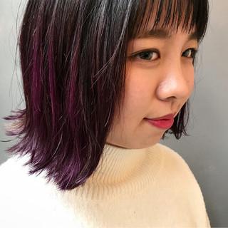 色気 大人かわいい パープル 抜け感 ヘアスタイルや髪型の写真・画像
