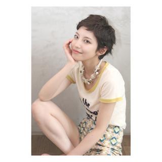 簡単 黒髪 ショート ストリート ヘアスタイルや髪型の写真・画像