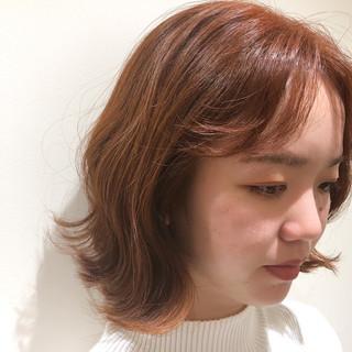 波巻き オレンジカラー ボブ ミニボブ ヘアスタイルや髪型の写真・画像