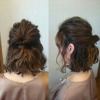 ハーフアップ ボブ ハイライト ショート ヘアスタイルや髪型の写真・画像