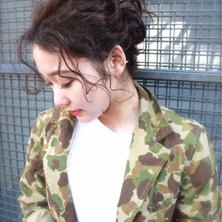 パーマ 黒髪 ロング 簡単ヘアアレンジ ヘアスタイルや髪型の写真・画像