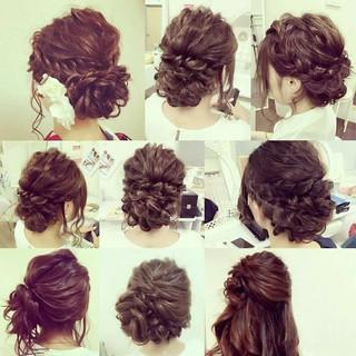 編み込み ロング 結婚式 ヘアアレンジ ヘアスタイルや髪型の写真・画像