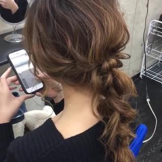 編みおろし ロング 結婚式 エレガント ヘアスタイルや髪型の写真・画像
