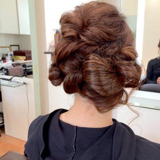 編み込み パーティ 結婚式 ガーリー ヘアスタイルや髪型の写真・画像