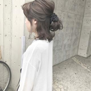 女子会 ポニーテール 簡単ヘアアレンジ ミディアム ヘアスタイルや髪型の写真・画像