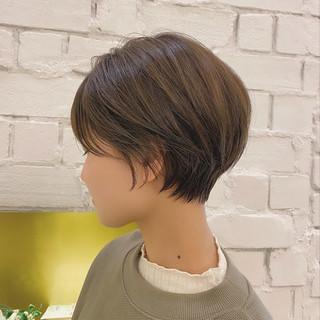 丸みショート デート 大人かわいい ショートヘア ヘアスタイルや髪型の写真・画像