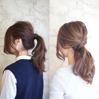 大人かわいい ショート ポニーテール 簡単ヘアアレンジ ヘアスタイルや髪型の写真・画像