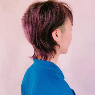 ウルフ女子 ウルフカット ショート バイオレットカラー ヘアスタイルや髪型の写真・画像