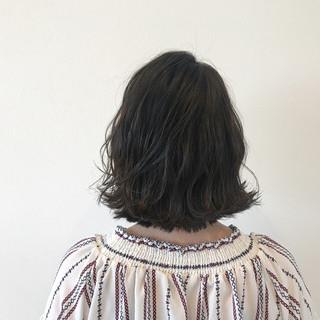 ナチュラル ボブ ウェーブ 外ハネ ヘアスタイルや髪型の写真・画像