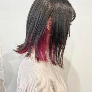 インナーカラーオレンジ インナーカラー インナーピンク モード ヘアスタイルや髪型の写真・画像