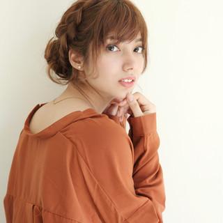 ヘアアレンジ 編み込み ショート まとめ髪 ヘアスタイルや髪型の写真・画像